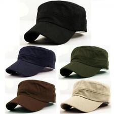 Classic Plain Vintage Army Military Cadet Style Cotton Cap Hat Adjustable beus