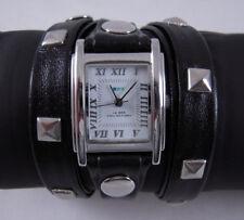 LA MER Watch Silver- Pyramid Stud Leather Wrap Watch