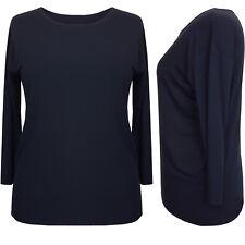 New Womens Black Tops Ladies Black Top Tunic Blouse Plus Size 12 14 16 18
