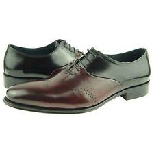 Carrucci Wingtip Spectator Oxfords, Men's Dress Leather Shoes, Burgundy/Black