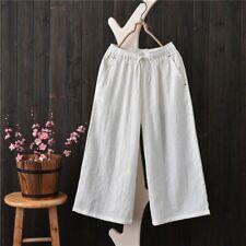 Women Cotton Capri Pants Jacquard Weave Trousers Wide Leg Loose Casual Vintage