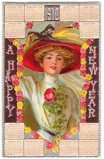 POSTCARD CALENDAR NEW YEAR 1910 WOMAN IN HAT CHROMO #5