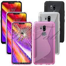 Apta LG G7 thinq lmg710em NUEVO ORIGINAL NEGRO Gel Funda de teléfono + PANTALLA
