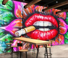 3D Fumeur Lèvres 1 Photo Papier Peint en Autocollant Murale Plafond Chambre Art