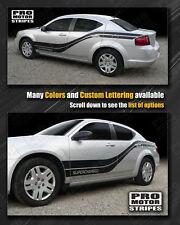 Dodge Avenger 2008-2014 Rocker to Rear Quarter Side Stripes Decals (Choose Color