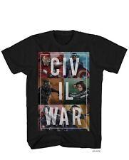 Captain America Civil War Split Up Men's Black Shirt