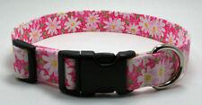 Daisy White on Pink Fabric Dog Collar Adjustable Handmade Custom Designer