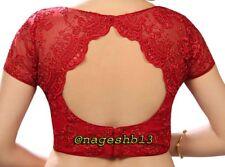 Readymade Saree Blouse, Designer Sari Blouse, Red Net Blouse,Choli,Indian Top