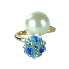 bague plaqué or originale cristal Swarovski bleu boule et perle nacrée blanche