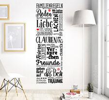 Familienregeln Wandtattoo Familie Zuhause Wohnzimmer Wandsticker Aufkleber ws17