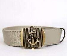 New Gucci Men's Beige Fabric Belt Military Anchor Brass Buckle 375191 1523