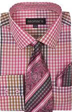 New Quality Mens' Fuchsin Check Design Dress Shirt w/ Matching Tie & Hanky A627