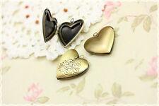 1pz charm  apribile  cuore portafoto ciondolo color bronzo 2.6cmX2.6cm