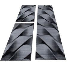 Teppich Bettumrandung Kurzflor Wellen Schattenoptik Schlafzimmer Schwarz Grau