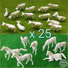 25 x animal WHITE COW HORSE model railway train 1:87 figure HO OO gauge 20 25mm