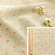 FQ Fat Quarter/Meter   Hessian Natural Linen Fabric Craft Sew Pink Daisy Flowers