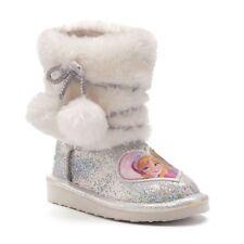 Toddler Girls Disney 11 Frozen Anna Elsa Sparkly Faux Fur Winter Boots New