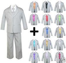 7 PC Vest Tie + Baby Toddler Teen Formal Wedding Party Tuxedo Gray Boy Suit S-20