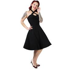 Hemet Rockabilly 50s Retro Black Criss Cross Halter Swing Dress Vintage Pin Up