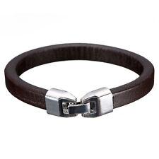 Fashion Men Women Leather Wrap Wristband Cuff Clasp Bracelet Bangle