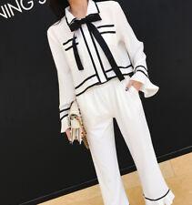 élégant Traje conjunto de mujer negro blanco pantalones suéter camisa 4540