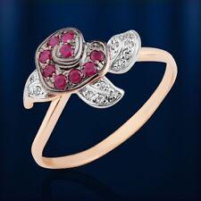 Russische Rose  Gold 585 BLUME Rose Goldring mit Brillanten & Rubin 💖💖💖💖💖