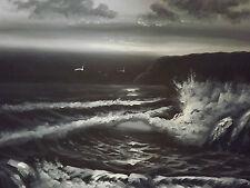 Large Peinture À L'huile Sur Toile - Paysage Marin Noir Et Blanc - Art Original