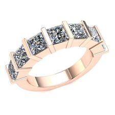 Genuine 2.8ct Princess Diamond Ladies Bar Set Bridal Half Eternity Band 14k Gold