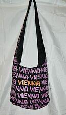 Smile Vienna Canvas Shoulder Tote Black Graffiti Print Beach Book Bag Sack