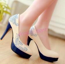 Elegent Ladies Faux Leather 4Colots Platform Party Date Womens Wedding Shoes SZ