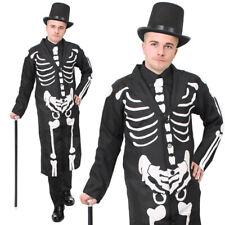 ADULTS JAMES BONES COSTUME MENS HALLOWEEN FANCY DRESS SKELETON COAT AND TIE