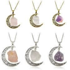 Natural Quartz Crystal Moon Pendant Chakra Healing Gemstone Necklace Jewelry
