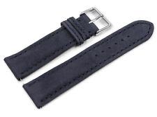 Bracelet montre bleu foncé cuir tannage végétal Montage rapide 18,20,22 mm NEUF