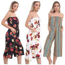 New Womens Plus Size Printed Bandeau Off Shoulder Bardot Jumpsuit Playsuits 8-26