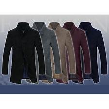 MTN Mens Boys Woolen Coat Medium Length Slim Long Jacket Outerwear Black Gray