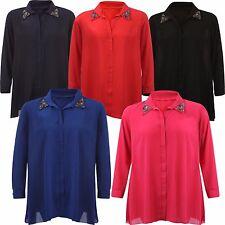 Ladies Plus Size Chiffon Shirt Dress Collar Studded Embellished Long Tunic Tops