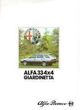 ALFA ROMEO 33 4 X 4 GIARDINETTA SALES BROCHURE 1985