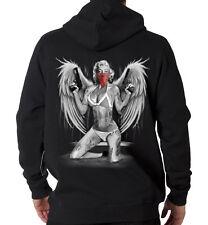 Marilyn Monroe Guns High Gangsta Tattoo Angel Wings Hooded Sweatshirt Hoodie