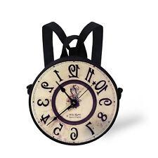 Cute Round Clock Watch Print Bag Women Handbags Purses Kids Sling Bag Backpack