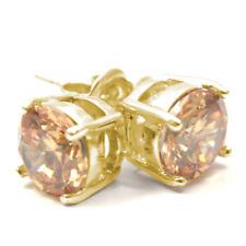 Diamond-único diamante solitario 2 CT 9 CT Dorado Champagne Pendientes con Pasador