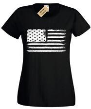 Grunge USA Flag T-Shirt S-2XL Womens American retro ladies united states