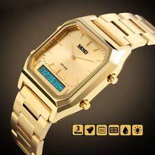 d'alarme analogique numérique d'acier inoxydable choquent hommes montre-bracelet