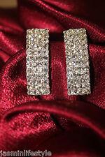 New Shiny Diamante Rhinestone Studs Long Earrings Bridal Party Costume Jewellery