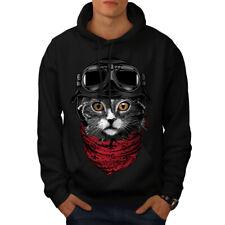 Cute Fashion Pilot Cat Men Hoodie NEW   Wellcoda