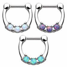 Septum Piercing Clicker Ring mit 3 Opal Steinen