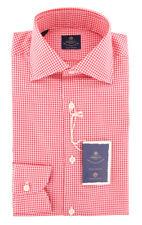 New $600 Luigi Borrelli Red Check Shirt - Extra Slim - (EV06RC10740)