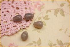 6pz pendente goccia pietra dura grigia 1,4x1cm per orecchini e collane