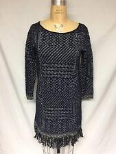 Lucky Brand Fringe Sweater Dress  7W51308 Navy NWT