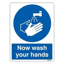Now Wash Your Hands Sign, Mandatory Kitchen Safety Vinyl Sticker / Rigid Plastic