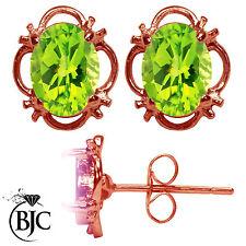 BJC 9kt Oro Rosa Naturale Peridoto Singolo Bottone Filigrana Orecchini A Perno